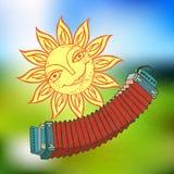 Vrolijke zon en Russische harmonika voor het ontwerp van de zomervakantie, picknicks, kinderen` s partijen De grote weer? mijlen  Stock Afbeeldingen