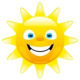 Vrolijke zon op de witte achtergrond Royalty-vrije Stock Afbeeldingen