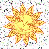 Vrolijke zon voor het ontwerp van de zomervakantie, picknicks, kinderen` s partijen De grote weer? mijlen stranden? het roeien va Stock Foto's