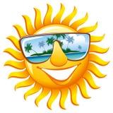 Vrolijke zon in zonnebril stock illustratie