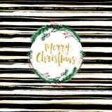 Vrolijke zwart-witte de borstelachtergrond van het Kerstkaartontwerp en het gouden van letters voorzien Stock Afbeelding