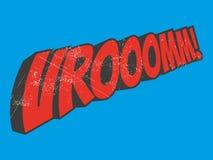Vroom cartoon sound. Vintage illustration of vroom cartoon sound Stock Image