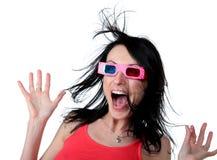 Vrouw in 3 Dglazen met verraste uitdrukking Stock Fotografie