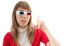 Vrouw in 3d bioskoopglazen Stock Fotografie
