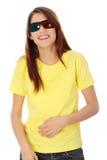 Vrouw in 3d bioskoopglazen Stock Foto