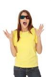 Vrouw in 3d bioskoopglazen Stock Afbeeldingen