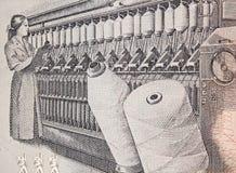 Vrouw aan het werk bij een rings spinmachine op Peru 100 intis 1987 Stock Foto