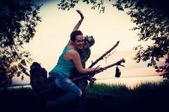 Vrouw als heks Stock Foto's
