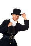 Vrouw als schoorsteenveger Stock Foto's