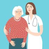 Vrouw arts en en oude dame stock illustratie