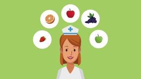 Vrouw arts en gezonde voedselhd animatie stock videobeelden