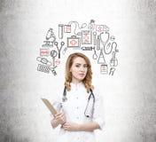 Vrouw arts en zwarte en rode medische pictogrammen Royalty-vrije Stock Afbeelding