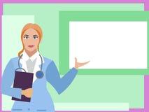 Vrouw arts met een tablet in hand punten aan een affiche, wit vierkant Vlakke beeldverhaalvector royalty-vrije illustratie
