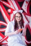 Vrouw arts met klysmabol II royalty-vrije stock fotografie