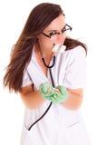 Vrouw arts met verpleegster van het pillen de medische personeel op witte achtergrond Royalty-vrije Stock Fotografie