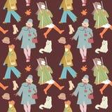 Vrouw Autumn Retro Fashion Seamless Pattern Royalty-vrije Stock Afbeelding
