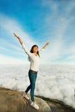 Vrouw in avontuur Stock Foto's