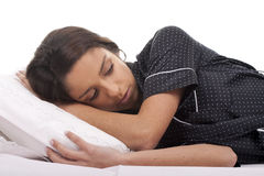Vrouw in bed Stock Foto