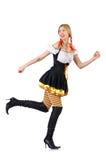 Vrouw in Beiers die kostuum op wit wordt geïsoleerd Royalty-vrije Stock Fotografie