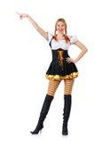 Vrouw in Beiers kostuum op wit Royalty-vrije Stock Foto