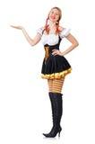 Vrouw in Beiers kostuum op wit Royalty-vrije Stock Afbeeldingen