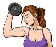 Vrouw bij de gymnastiek Stock Foto