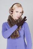 Vrouw bij de winter Royalty-vrije Stock Afbeeldingen