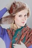 Vrouw bij de winter Stock Afbeeldingen