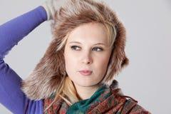 Vrouw bij de winter Royalty-vrije Stock Foto