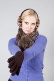 Vrouw bij de winter Royalty-vrije Stock Foto's