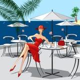 Vrouw bij een koffie stock illustratie