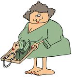 Vrouw bij een veiligheidscontrolepost Royalty-vrije Stock Afbeelding