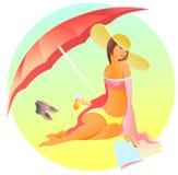 Vrouw bij het strand onder Royalty-vrije Stock Afbeeldingen