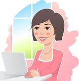 Vrouw bij laptop royalty-vrije illustratie