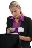 Vrouw bij laptop Stock Afbeeldingen
