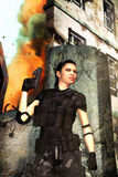 Vrouw bij oorlog Stock Foto's