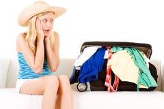 Vrouw bij Vakantie Stock Afbeeldingen