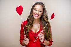 Vrouw bij Valentijnskaartendag Royalty-vrije Stock Foto