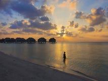 Vrouw bij zonsondergang Stock Foto