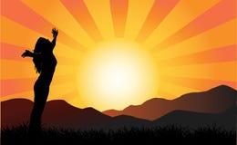 Vrouw bij zonsondergang stock illustratie