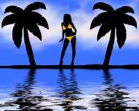 Vrouw in bikini bij strand Royalty-vrije Stock Foto