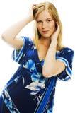 Vrouw in blauw Stock Afbeelding
