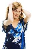 Vrouw in blauw Royalty-vrije Stock Fotografie