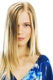 Vrouw in blauw Royalty-vrije Stock Afbeeldingen