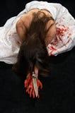 Vrouw in bloed Stock Afbeeldingen