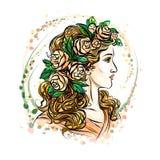 vrouw in bloemkroon stock illustratie