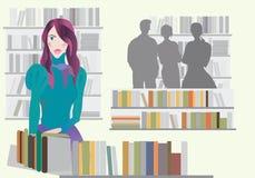 Vrouw in Boekhandel Stock Afbeeldingen
