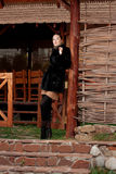 Vrouw in bontjas Stock Foto