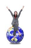 Vrouw bovenop Wereld stock afbeelding