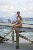 Vrouw in bruidssluier Stock Fotografie